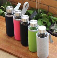 Glass Water Sport Bottle with Stainless Steel Lid BPA free Travel Eco Friendly
