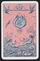 1 Single VINTAGE Swap/Playing Card ELLERMAN Mermaids Seahorse Shipping/SteamShip