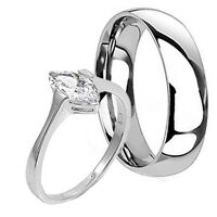 His and Hers STERLING SILVER Titanium Wedding Promise Band Ring Set Marquise Cut