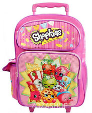 "Shopkins 16"" Large Roller Backpack NEW Girl Rolling Backpack Authentic"