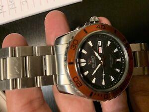 Orient Mako - Automatic Black Dial Men's Watch FEM75004B9 - Orange Bezel- Used