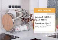 "NEW 20.5"" Stainless Steel 2-Tiers Dish Drying Rack Draining Tray Utensil Holder"