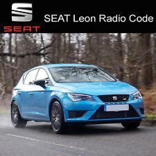 Seat Leon radio code Stéréo Codes PIN Unlock Service Rapide UK