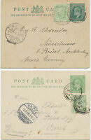 GB 1904/6 EVII two ½d bluegreen postal stationery postcards uprated with ½d