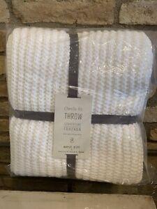 Pottery Barn Teen Chenille Ribbed White Throw Blanket Bedding Decor New