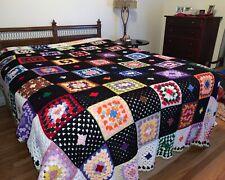 "Vtg Granny Squares Afghan Wool Blanket Hand Crocheted Multi-Color 85"" x 114"" Lg!"