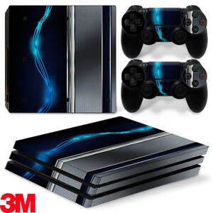 PS4 Pro Playstation 4 Console Skin Decal Sticker Blue Silver Metal Custom Design