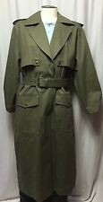 VTG TOGETHER Leather Canvas Western Military Trench Coat Jacket Long M 6 Womens