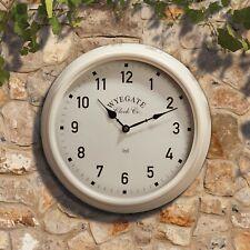 Wyegate Cream Radio Controlled Indoor/Outdoor Garden Wall Clock Metal Round Face
