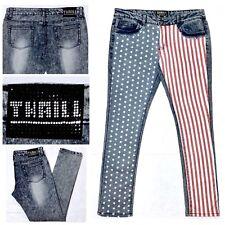 THRILL Women's USA Flag Skinny Jeans Stars & Stripes Acid Wash Distressed Sz 13