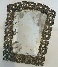 Ancien et Rare Petit miroir biseauté bureau et Face à main en bronze Antique