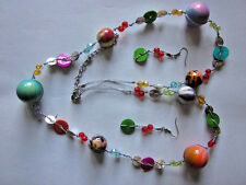 MULTI COLOR LUCITE BEAD SHELL SILVER TONE STRING LONG NECKLACE EARRING SET