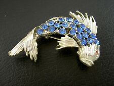 Gorgeous Vintage Blue Rhinestone Koi Japanese Fish Silver Tone Pin Brooch -2""