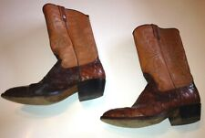 Vintage Nocona Brown Boots Men's Size 10 Exotic Material Lower/ Leather Pull On