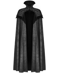 Punk Rave Mens Gothic Cloak Cape Long Black PU Leather Brocade Steampunk Vampire