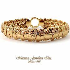 "14K Yellow Gold Diamond Cut Railroad SNAKE Bracelet 1/2"" DOMED 6 3/4"" M25 52 127"