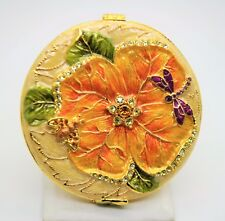 Dual Compact Purse Mirror Colorful Dragonfly & bee flower Yellow Cream base