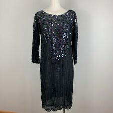 VTG 80's Beaded Silk Dress Black Sequins Gothic Disco Flapper Glam Women's Small