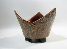 Vtg Midcentury Japanese Ikebana Pottery Flower Footed Bowl Vase Folded Origami