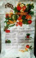 Vintage 1978 Tea Towel Calendar Wall Hanging DISH Coffee Tole Fruit Veggie
