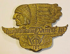 1940s *Transcontinental & Western Air* Indian Head Logo Hat Badge - TWA