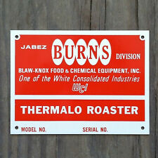 Original BURNS EQUIPMENT THERMALO ROASTER Cleaner Metal Sign 1950s NOS