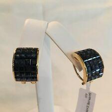18K Gold Sapphire Earrings, 11.6 tcw, Folding Post w/ Omega Clasp  High Quality