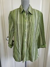 SHERRY TAYLOR Women's Striped Top long Sleeve Green Office Shirt LARGE NWT