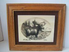 VTG 1979 Bull Moose Alaskan Mint Marble Etching Kiana Bill Devine Limited Series