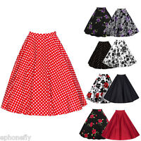 ZAFUL Vintage Floral Dot Rockabilly Skirt A-line Flared Swing Pleated Midi Dress