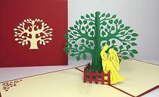 Wedding In The Garden. Kirigami 3D Handmade Anniversary/Love Tree Pop Up Card
