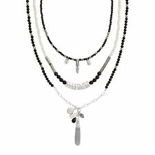 """Silpada Sterling Silver Howlite Pyrite """"Neutral Territory"""" 7 Way Necklace N3255"""