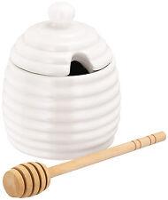 Judge Blanc Céramique Ruche Forme Pot De Miel Bocal avec Drizzler JFY005
