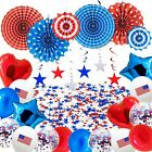 Patriotic Party Decorations Set 4th of July Decors Include Paper Fans Balloons S