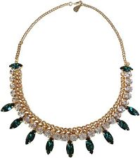 Yochi Navette Green And Clear Crystal Drop Frontal Chain Necklace