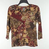 ADDITIONS BY Chico's Womens Size 1 Casual 3/4 Sleeve V-Neck Brown Floral Top