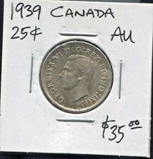 CANADA - BEAUTIFUL HISTORICAL TONED GEORGE VI SILVER 25 CENTS, 1939 KM# 35