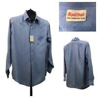 1950s Button Down Shirt / 50s NOS Baby Blue Rayon Shirt Unworn / Medium