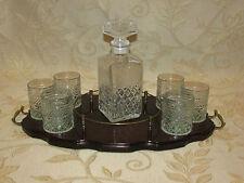 Vintage Mahogany Ships Decanter Tray Set  - Hand Cut Crystal Glass