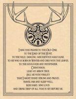 Celtic Pagan Horned God Cernunnos Prayer Parchment-Color Poster Print 8.5x11