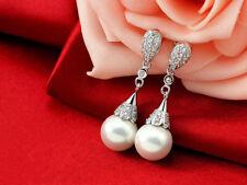 """Sterling Silver S925 Cubic Zircon Pearl 10 mm Drop Dangle Earring 1.3"""""""