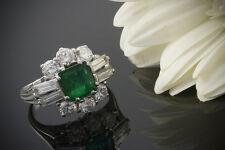 Schmuck Exkl. Klassiker Ring Smaragd Brillanten Baguette Diamanten 750 Weißgold