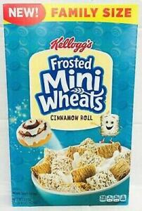 NEW KELLOGGS FAMILY SIZE FROSTED MINI WHEATS CINNAMON ROLL CEREAL 22 OZ 623g BOX