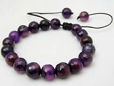 Men's Shamballa bracelet all 10mm Natural Purple Agate STONE beads