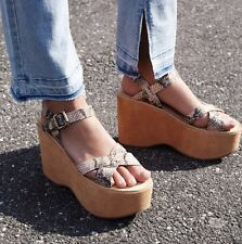 NIB Free People Kork-Ease tan Snake & Suede 70's Iconic Platform Wedge Sandal 8