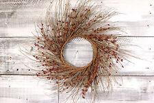 "Primitive Pip & Twig Wreath, 22"" - Burgundy"