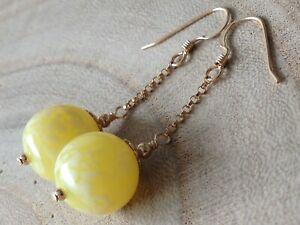Art Deco Sorbet Lemon & Mottled White URANIUM Glass 14ct Rolled Gold Earrings