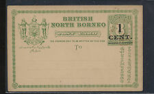 North Borneo  revalued postal card , lite red cancel unused              AT0628