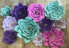 Large Paper Flowers Set Of 11 Wall Decor Party Backdrop Wedding Baby Birthday