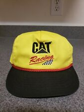 Vintage CAT Racing Catepillar Snapback Hat Cat Yellow Black Red Checkered Flag